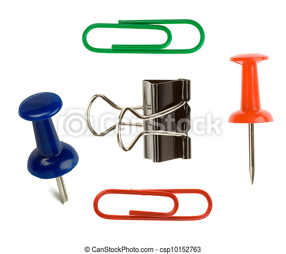 close up pushpin and paper clip on white  - csp10152763