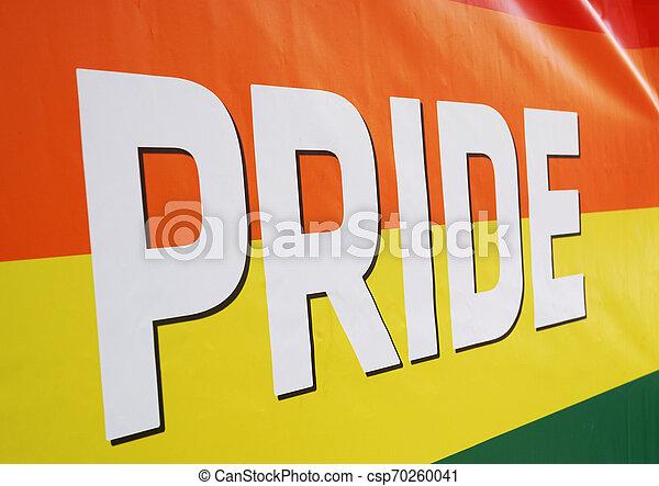 close-up rainbow flag at gay pride event - csp70260041