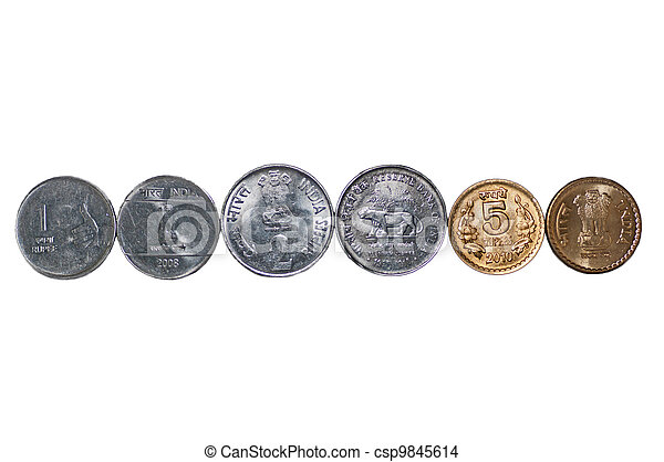 Close up row Indian Coins isolated copy space - csp9845614