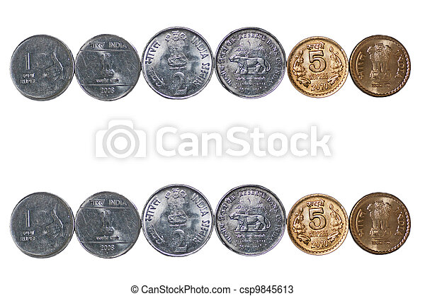 Close up row Indian Coins isolated copy space - csp9845613