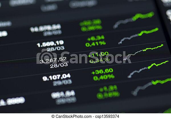 close-up, screen., lcd, waarden, markt, liggen - csp13593374