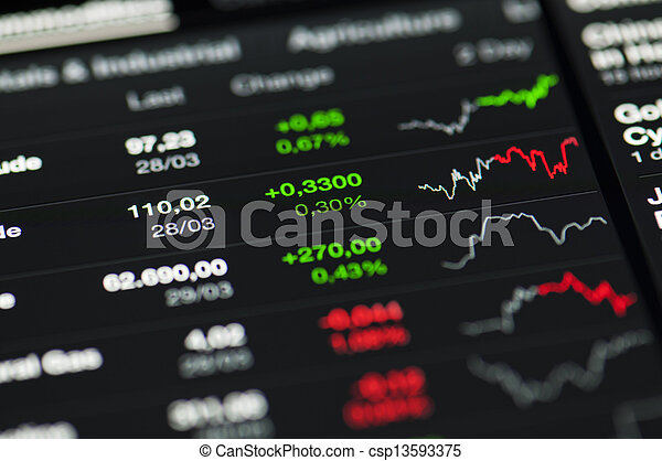 close-up, screen., lcd, waarden, markt, liggen - csp13593375