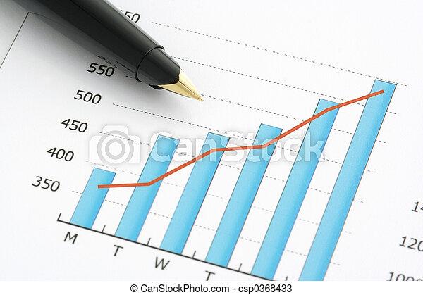 Close-up shot of a pen on chart - csp0368433