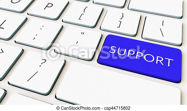 Close-up shot of computer keyboard and blue support key. Conceptual 3D rendering - csp44715802