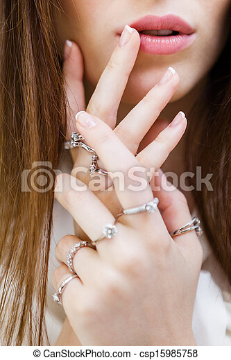Close Up Shot Of Female Hands With Rings Concept Of Wealth And