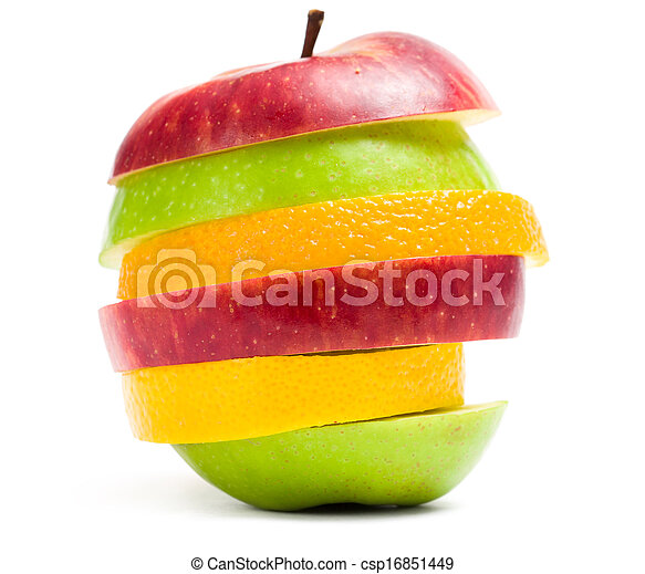 Close up shot of slices of fruit in shape of apple - csp16851449