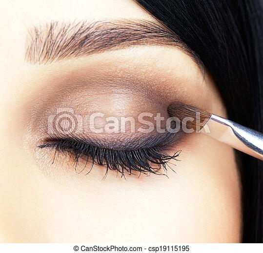 close-up shot of woman eye makeup - csp19115195