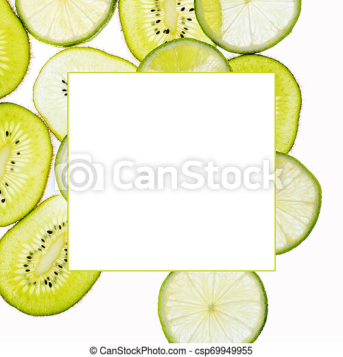 Close up slices of kiwi and lime isolated on white background with frame for your text - csp69949955