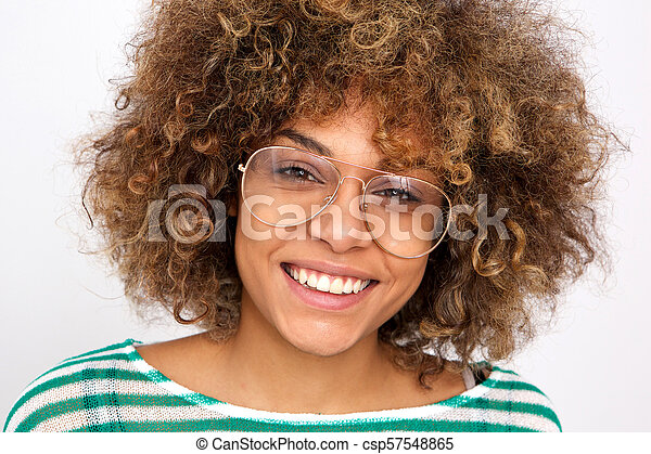 Close up smiling young african american woman with glasses - csp57548865