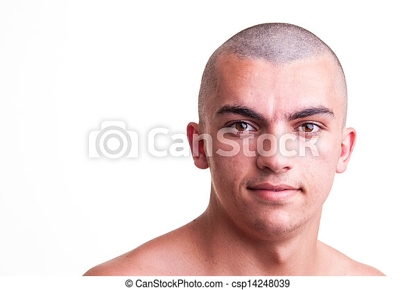Close up studio shot of bald young man over white background - csp14248039