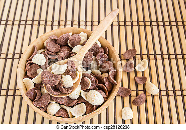 Close up sweet cereal in wooden bowl - csp28126238