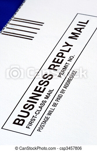 Close-up view of a Business Reply Mail isolated on blue - csp3457806