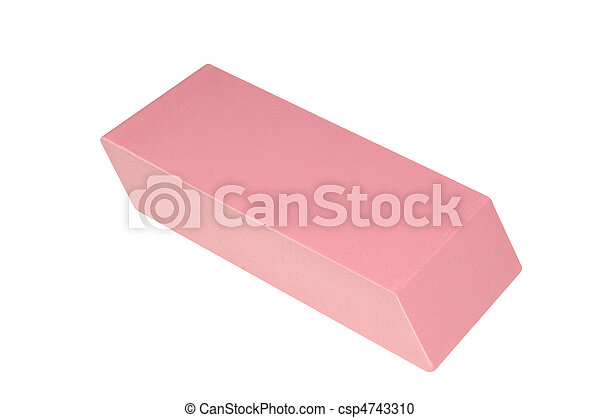 Close-up View of a Large Pink Eraser Isolated on White - csp4743310