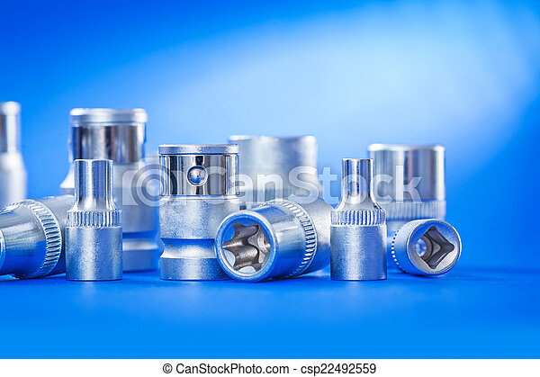 close up view on automobile torx on blue background - csp22492559