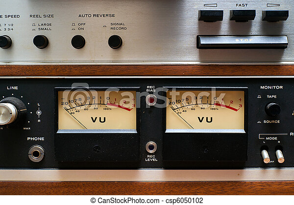 Close-up VU meters on Analog Tape Deck - csp6050102