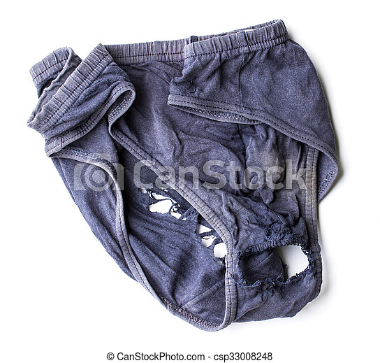 Close Up Weathered And Decayed Dirty Underwear For Men On White Background Csp