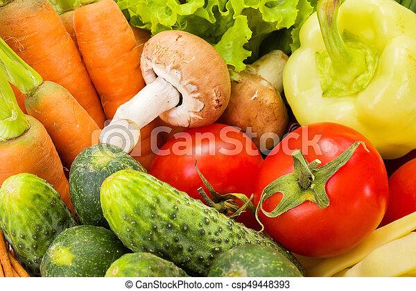 Close view of various summer vegetables - csp49448393
