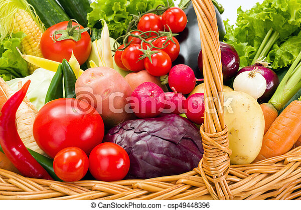 Close view of various summer vegetables - csp49448396