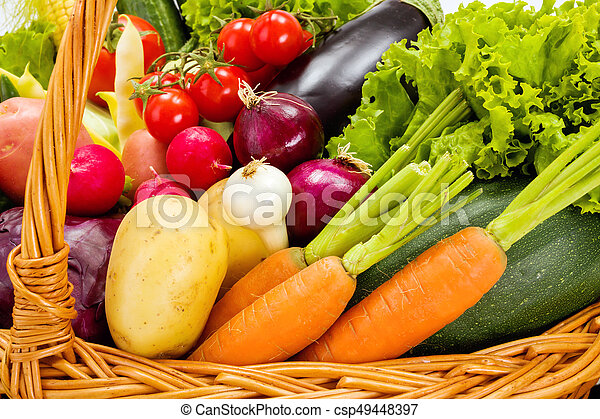 Close view of various summer vegetables - csp49448397