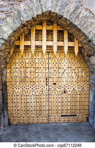 Closed castle gate. Malahide Castle, Ireland, Europe - csp67112248