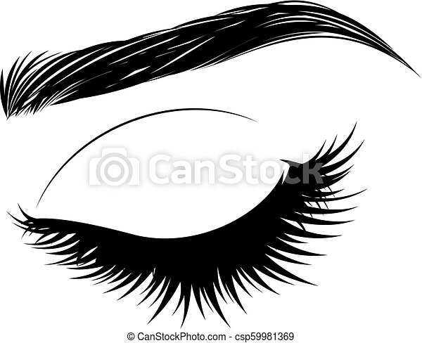 Closed eye with long eyelashes and brows - csp59981369