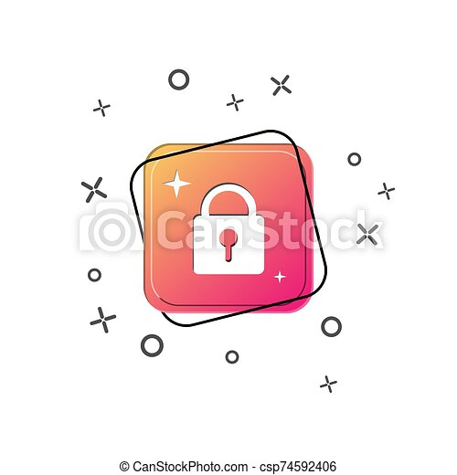 Closed lock icon. Purple square button. Flat design - csp74592406