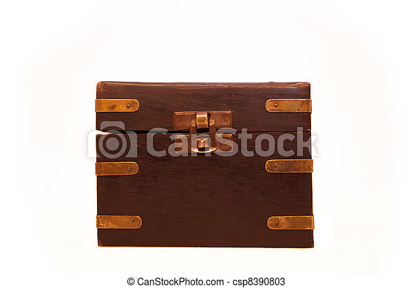 closed old chest with metal lock - csp8390803