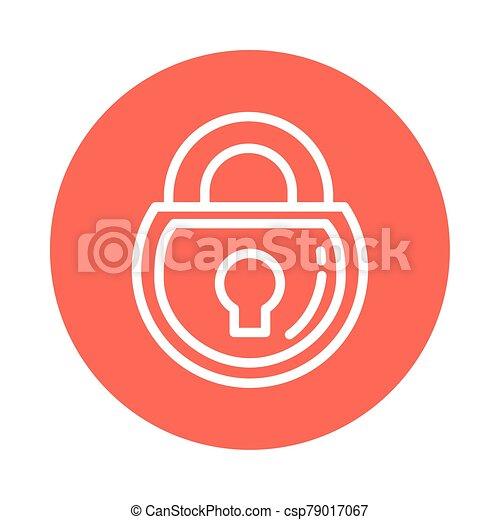 closed padlock, block and flat style icon - csp79017067