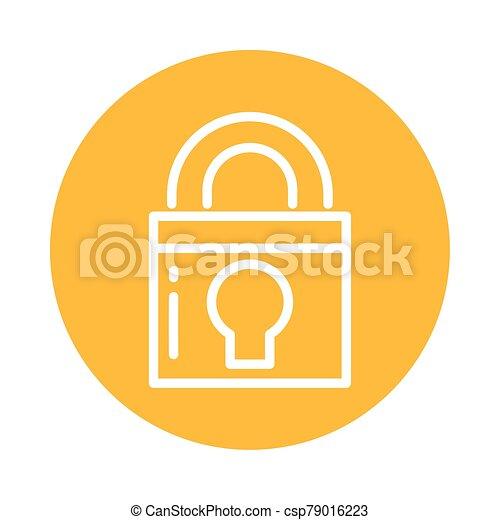 closed padlock, block and flat style icon - csp79016223