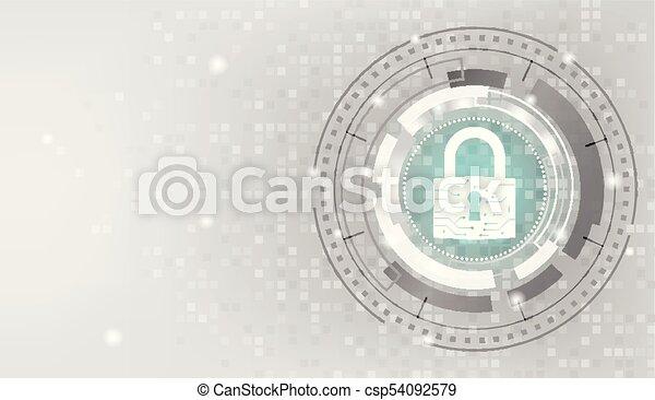Closed Padlock on mosaic digital white background. - csp54092579