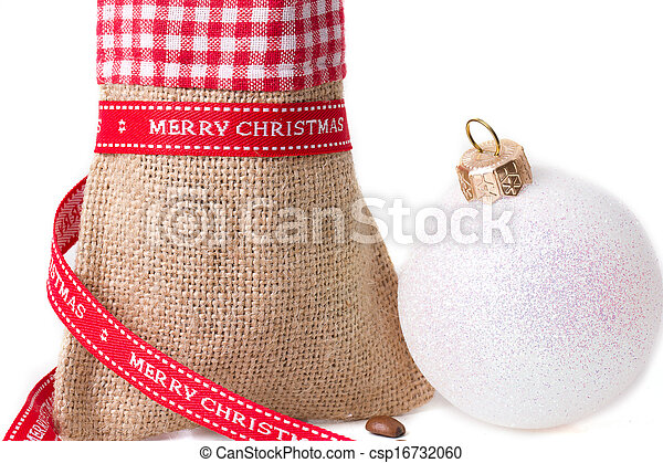 closed sack bag with red bow - csp16732060