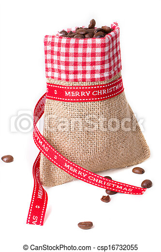 closed sack bag with red bow - csp16732055