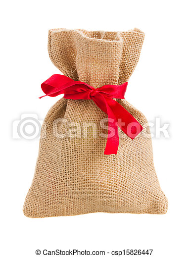 closed sack bag with red bow - csp15826447