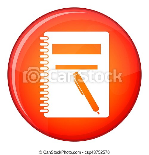 Closed spiral notebook and pen icon, flat style - csp43752578