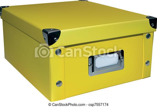 ... Closed Storage Box   Yellow Closed Storage Box Isolated On.