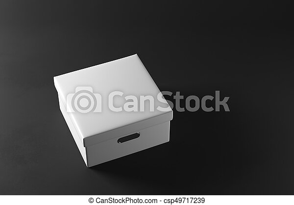Closed white box on dark background. Package concept. 3D Rendering