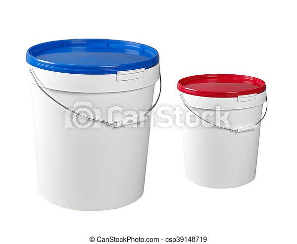 Closed white plastic containers - csp39148719