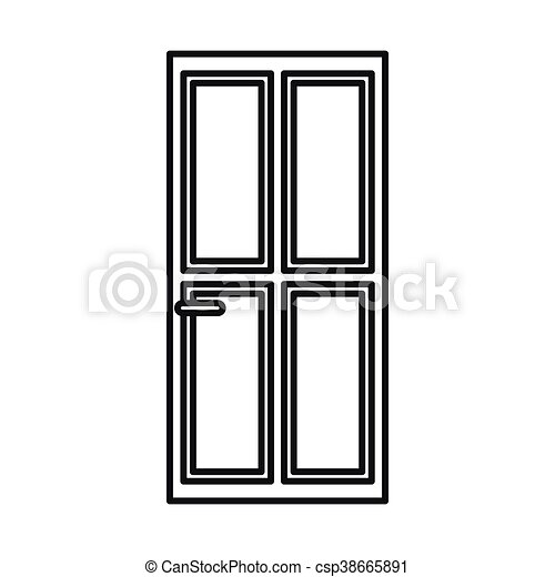 Closed wooden door icon outline style - csp38665891  sc 1 st  Can Stock Photo & Closed wooden door icon outline style. Closed wooden door icon in ...
