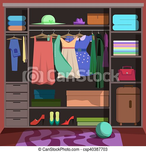 Wardrobe clipart  Closet with fashion clothes. wardrobe room with woman... vector ...