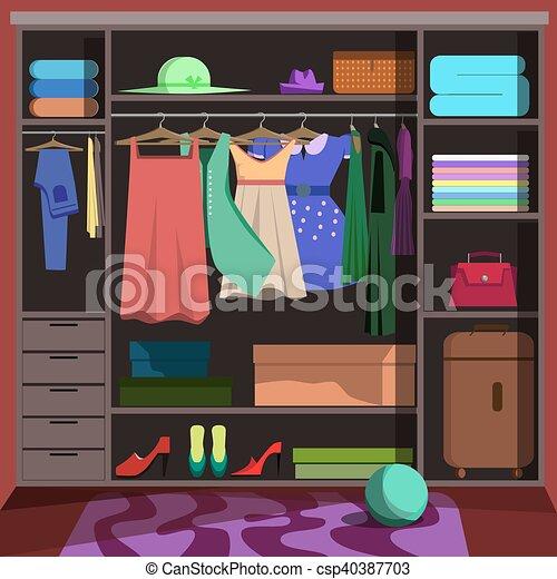 Closet With Fashion Clothes. Wardrobe Room   Csp40387703
