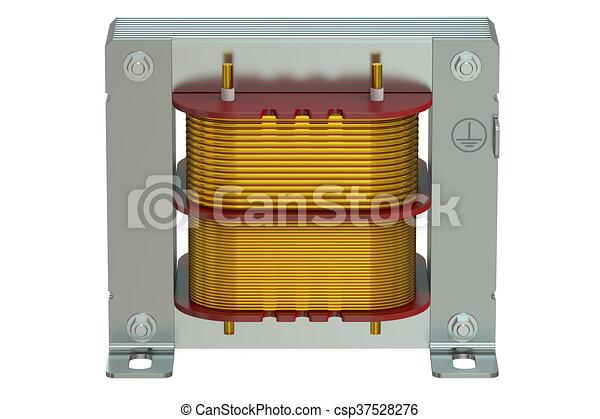 Closeup, übertragung, transformator, elektrisch, 3d.... Stock ...