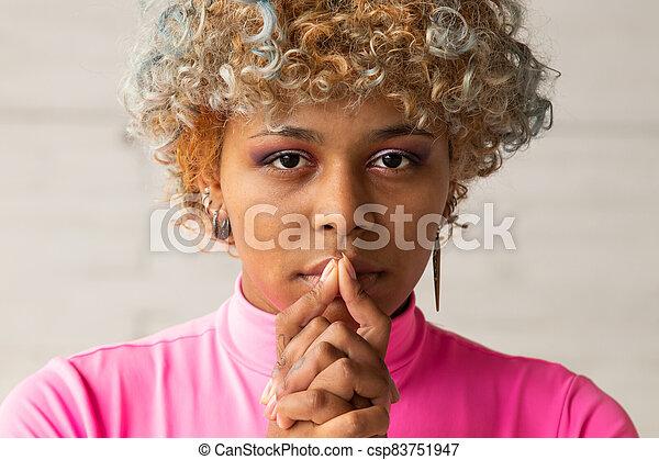 closeup african american woman portrait - csp83751947