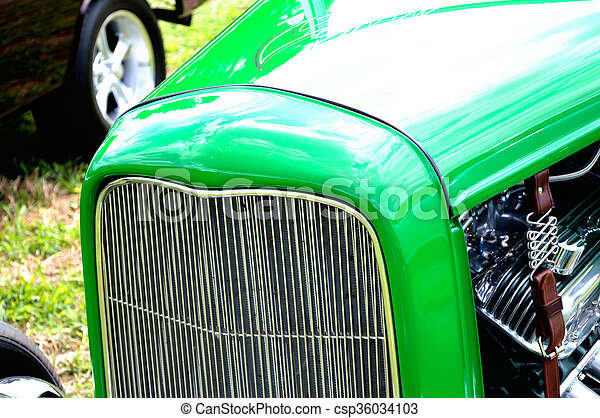 Closeup antique car grill background - csp36034103