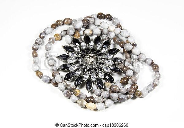 Closeup Arrangement Of Costume Jewelry and Beads - csp18306260