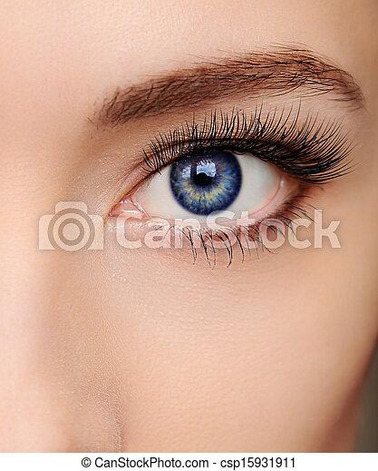 Closeup beautiful blue woman eye with long salon lashes looking - csp15931911