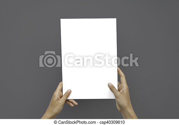 Closeup Blank White Paper Sheet Mockup Holding Female Hands Abstract Gray Background. - csp40309610