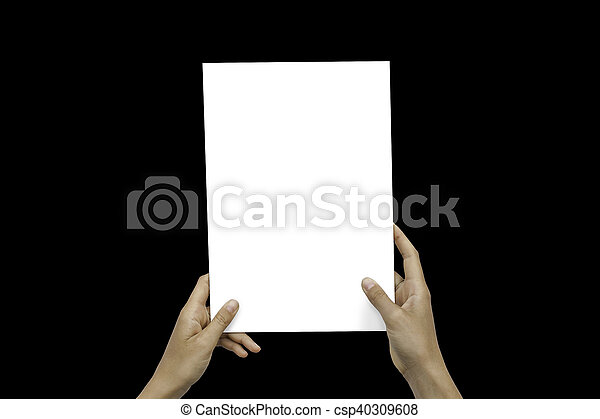 Closeup Blank White Paper Sheet Mockup Holding Female Hands Abstract Black Background. - csp40309608