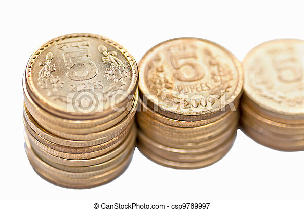 Closeup Coin stack isolated on white copy space - csp9789997