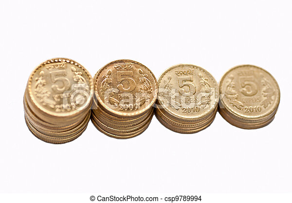 Closeup Coin stack isolated on white copy space - csp9789994