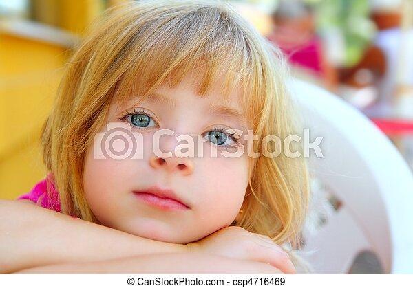 closeup face little blond girl portrait smile - csp4716469